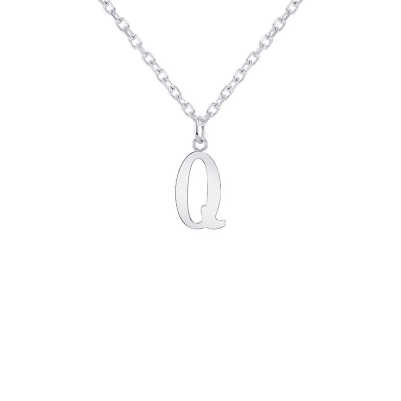 "Customizable Initial ""Q"" Pendant Necklace in Sterling Silver"