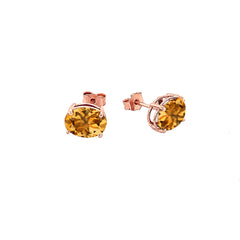 Genuine Oval-Shaped Birthstone Stud Earrings in Gold (Medium Size)