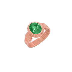 Milgrain Emerald Statement Ring in Solid Gold