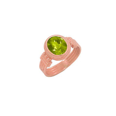 Milgrain Peridot Statement Ring in Solid Gold