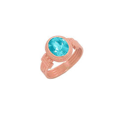 Milgrain Aquamarine Statement Ring in Solid Gold