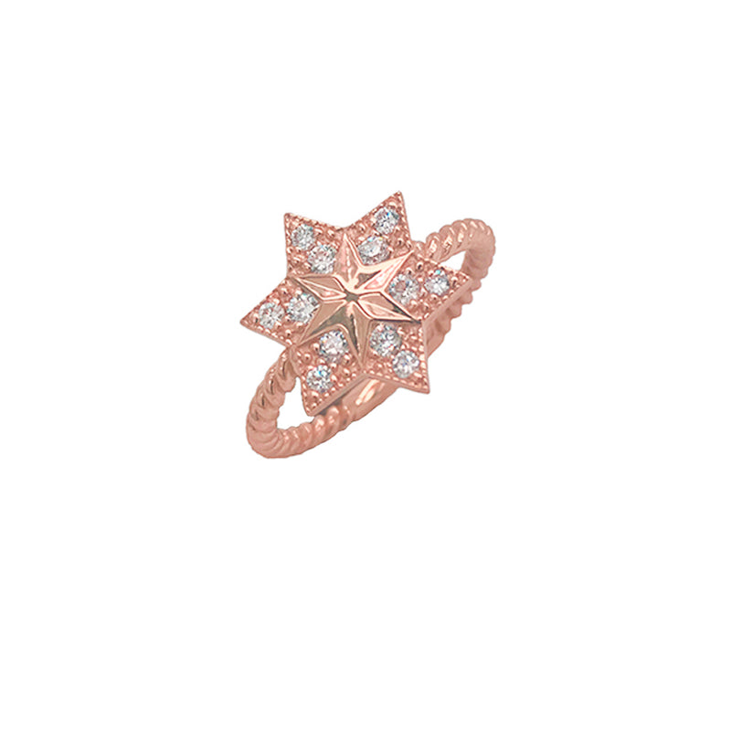 Jewish Star of David Statement Ring in Rose Gold with CZs