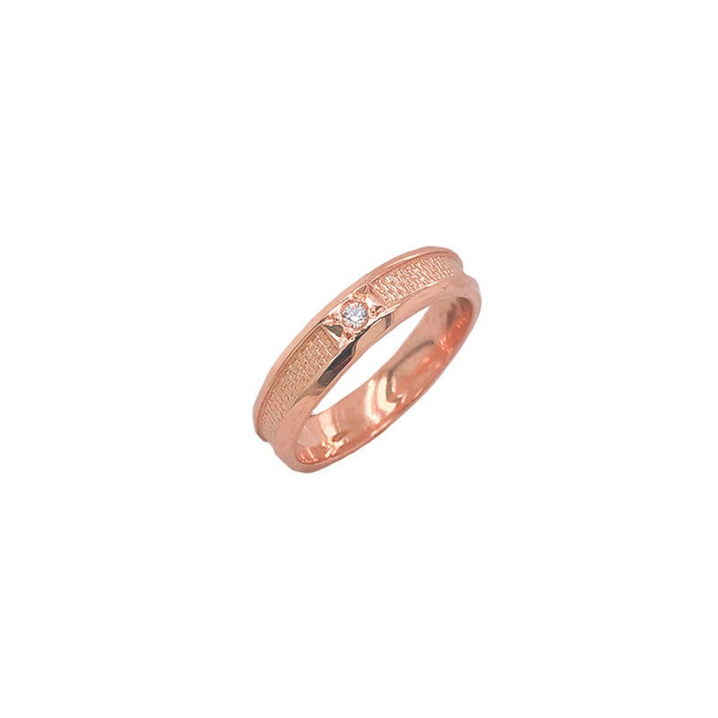 Modern Diamond 3.8 mm Wedding Band Ring in Solid Gold