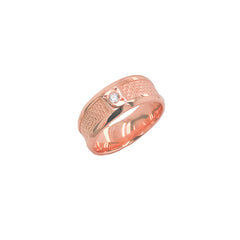 Modern Diamond 7.5 mm Wedding Band Ring in Solid Rose Gold