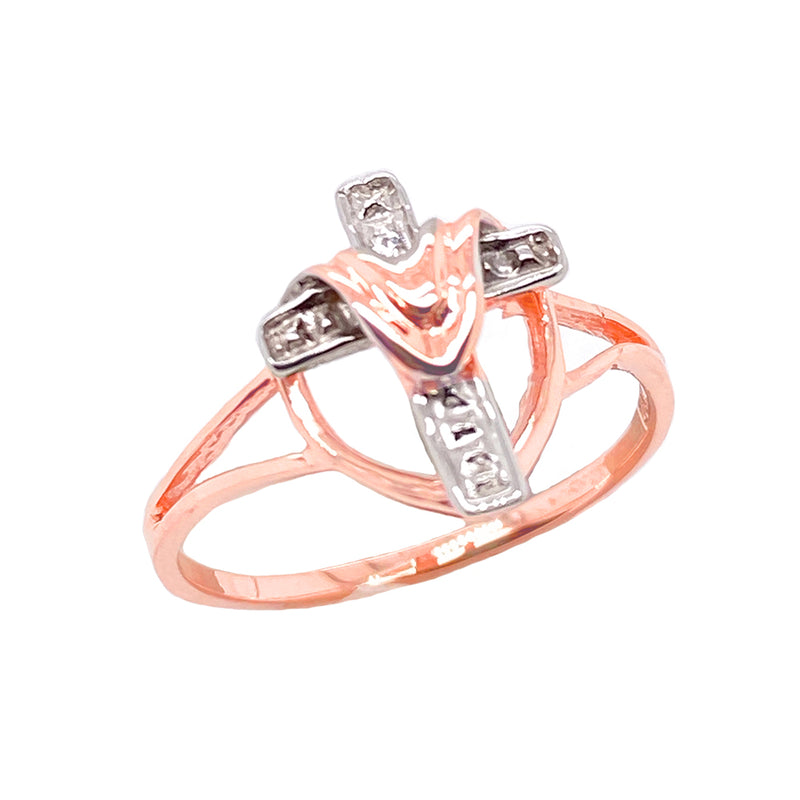 Diamond Cloaked Cross Statement Ring in Solid Two Tone Rose Gold