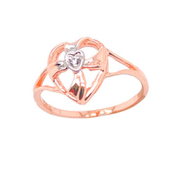Solitaire Diamond Open Heart Cross Ring in Solid Rose Gold