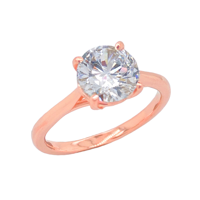 Dainty Solitaire CZ Rope Engagement Ring in Solid Rose Gold (Large Size)