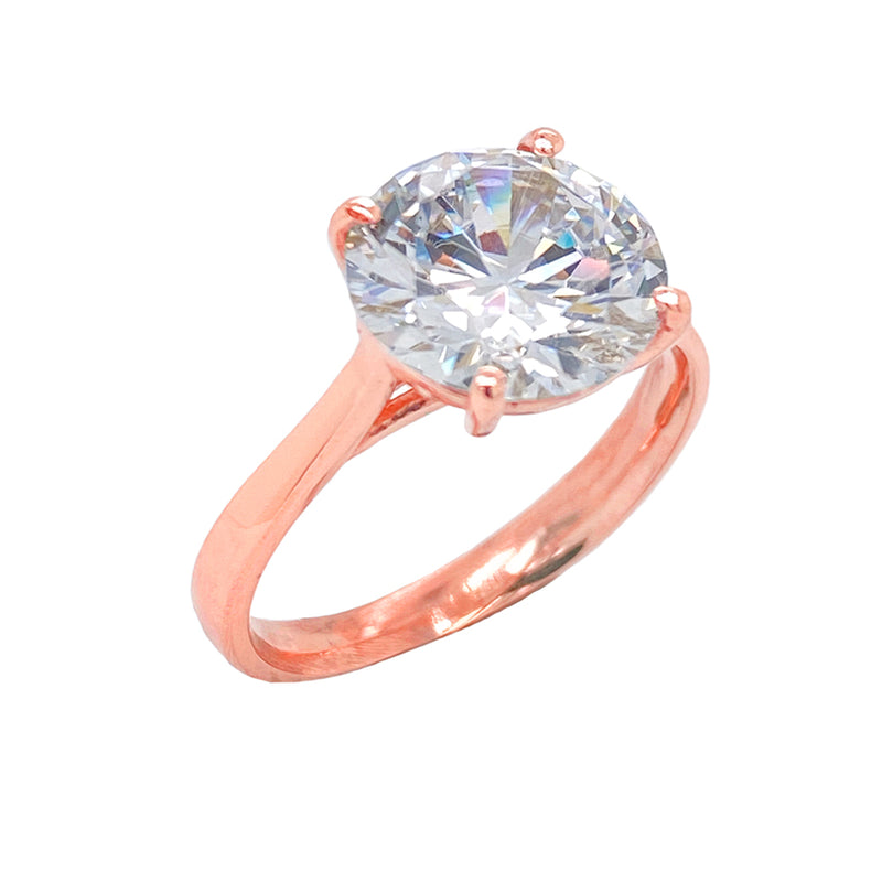 Dainty Solitaire CZ Rope Engagement Ring in Solid Rose Gold (XX-Large Size)
