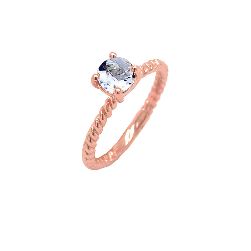 Dainty Solitaire Genuine Aquamarine Rope Engagement Ring in Rose Gold
