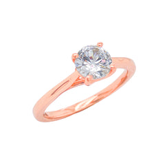 Dainty Solitaire CZ Rope Engagement Ring in Solid Rose Gold (Small Size)