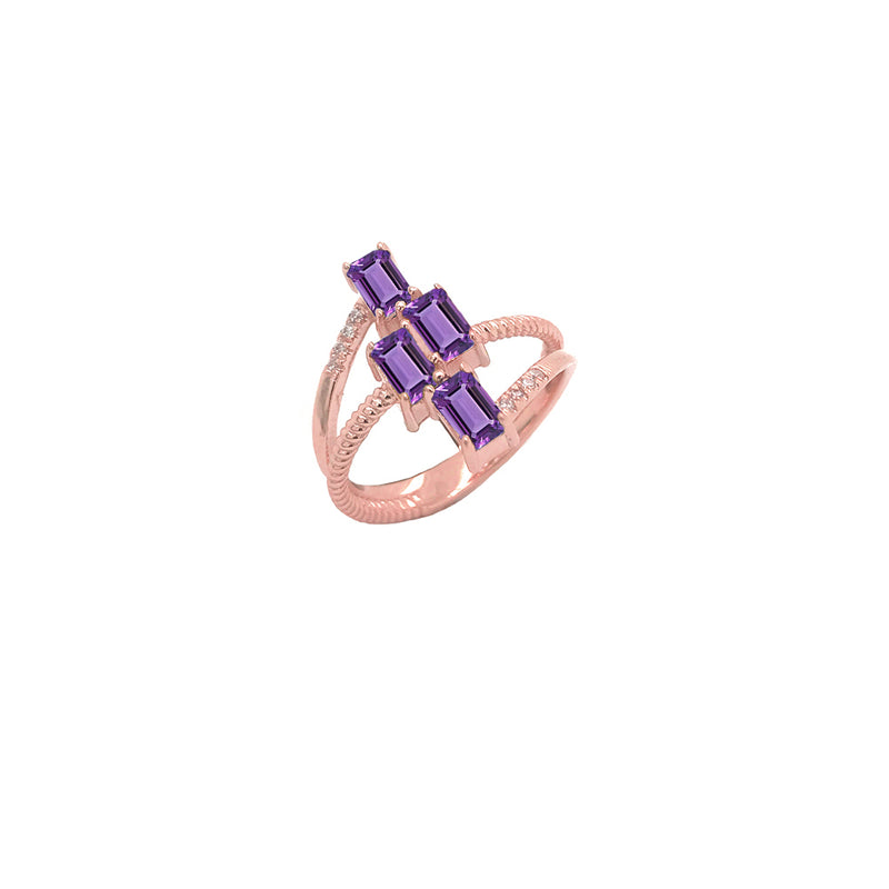 Solid Gold Diamond & Emerald Cut Genuine Amethyst Rope Statement Ring