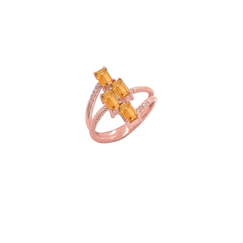 Solid Gold Diamond & Emerald Cut Genuine Citrine Rope Statement Ring