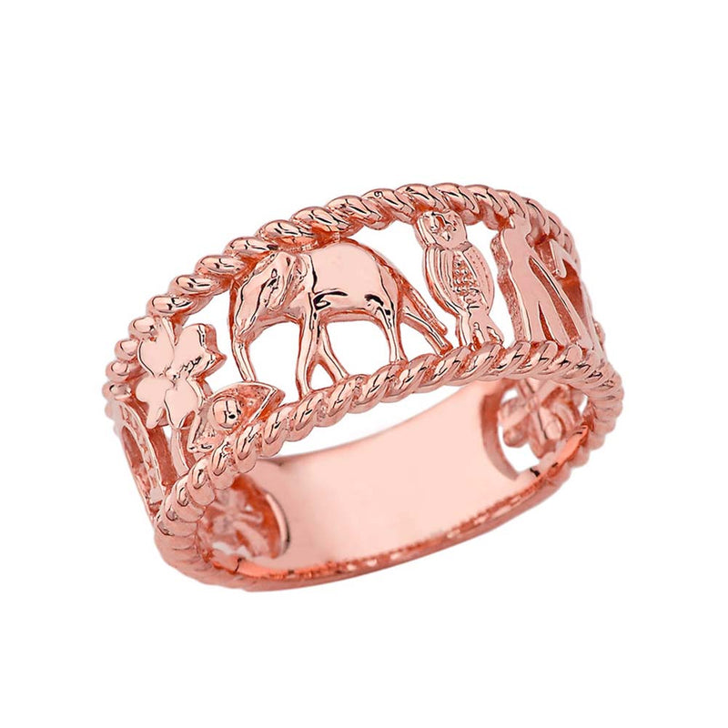 Good Luck Rope Ring in Solid Gold (Yellow, Rose or White)