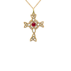 Diamond Irish Celtic Cross with July Birthstone Pendant Necklace in Gold