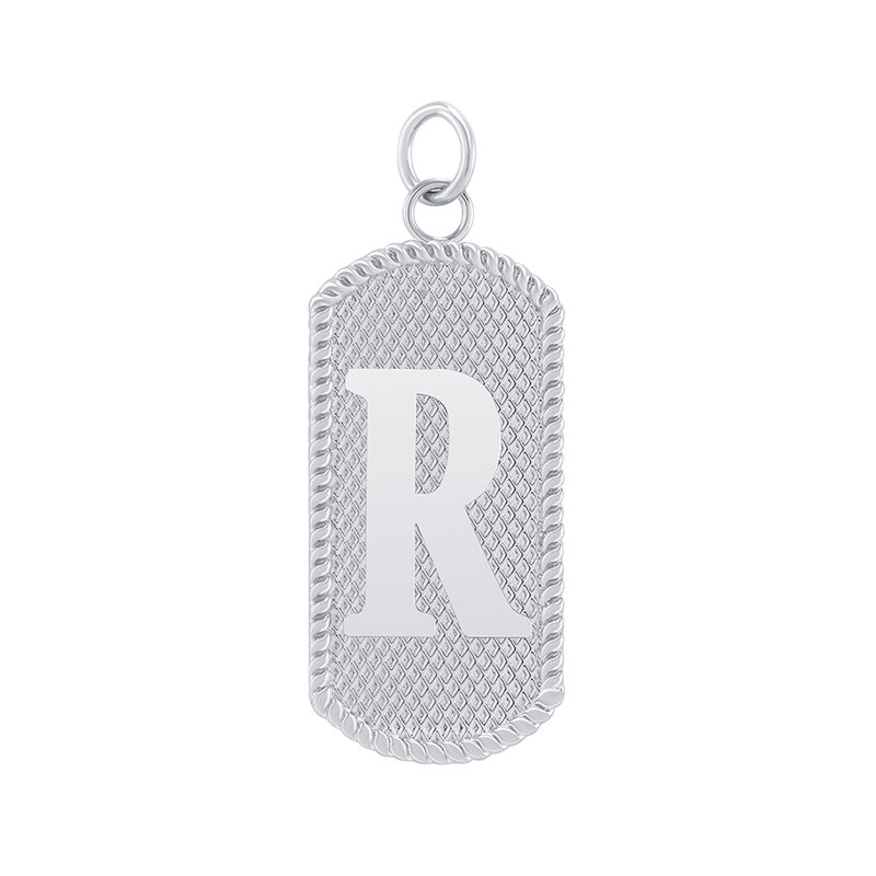 "Customizable Dog Tag Initial ""R"" Necklace/Pendant in Sterling Silver"