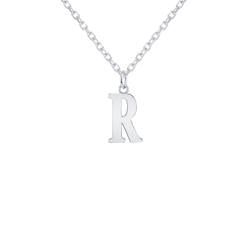 "Customizable Initial ""R"" Pendant Necklace in Sterling Silver"