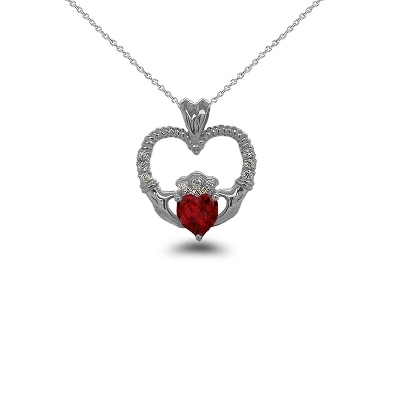 Claddagh Heart Diamond & July Birthstone Red CZ Rope Pendant/Necklace in Sterling Silver