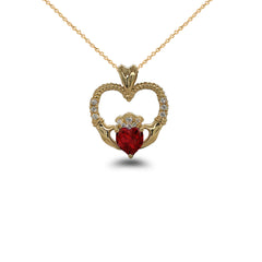 Claddagh Heart Diamond & July Birthstone Red CZ Rope Pendant/Necklace in Solid Gold