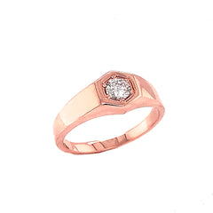 Unisex White Topaz Statement Signet Ring in Solid Rose Gold