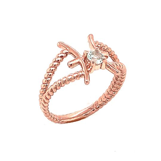 Zodiac - Pisces Symbol & Aquamarine Gemstone Rope Ring in Rose Gold