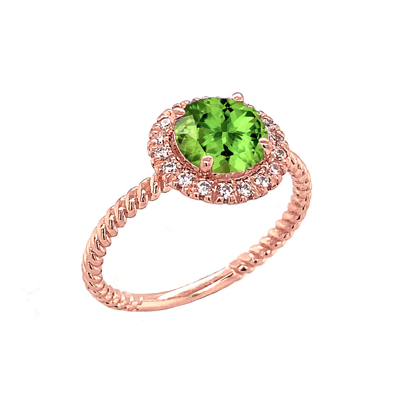 Round Cut Genuine Peridot Engagement Band Ring with Diamonds In Solid Rose Gold