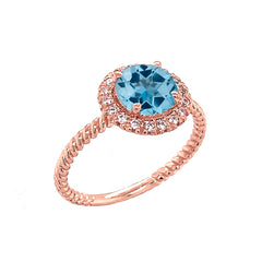 Round Cut Blue Topaz Engagement Band Ring with Diamonds In Solid Rose Gold