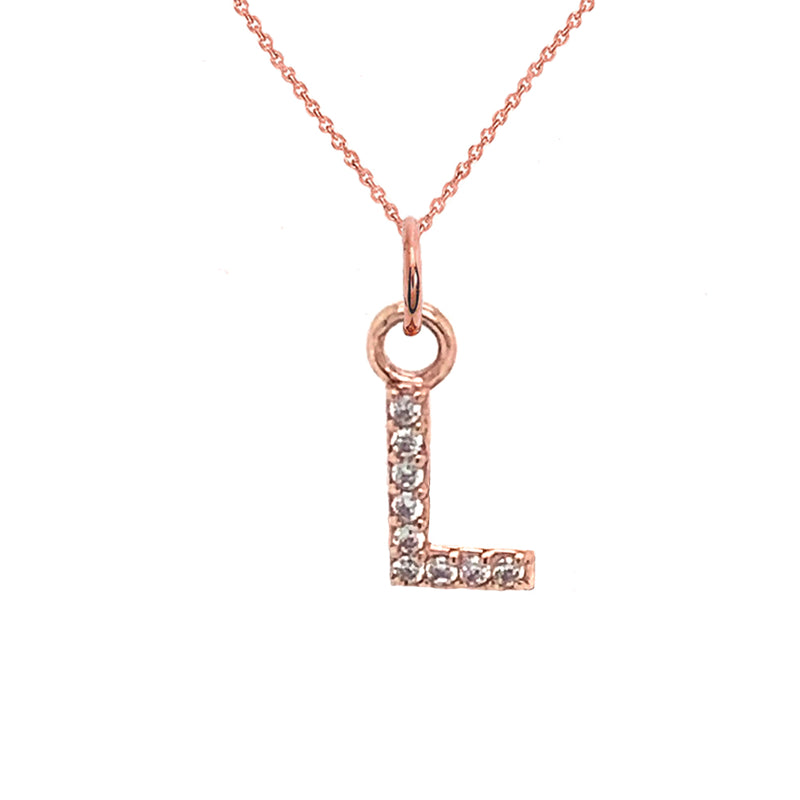 "Customizable Diamond Initial ""L"" Pendant Necklace in Solid Gold"