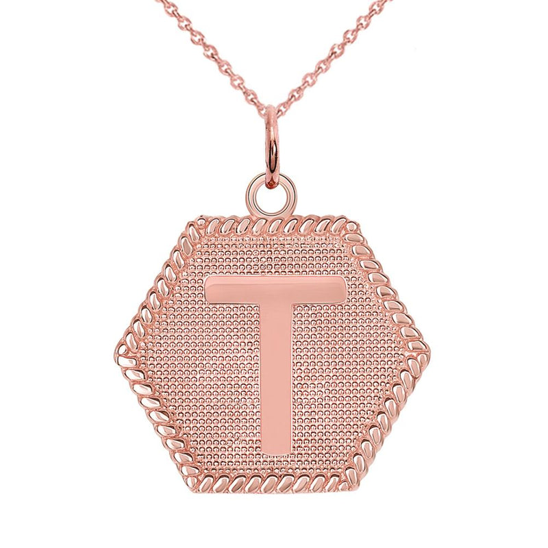 "Initial ""T "" Gold Medallion Pendant Necklace"