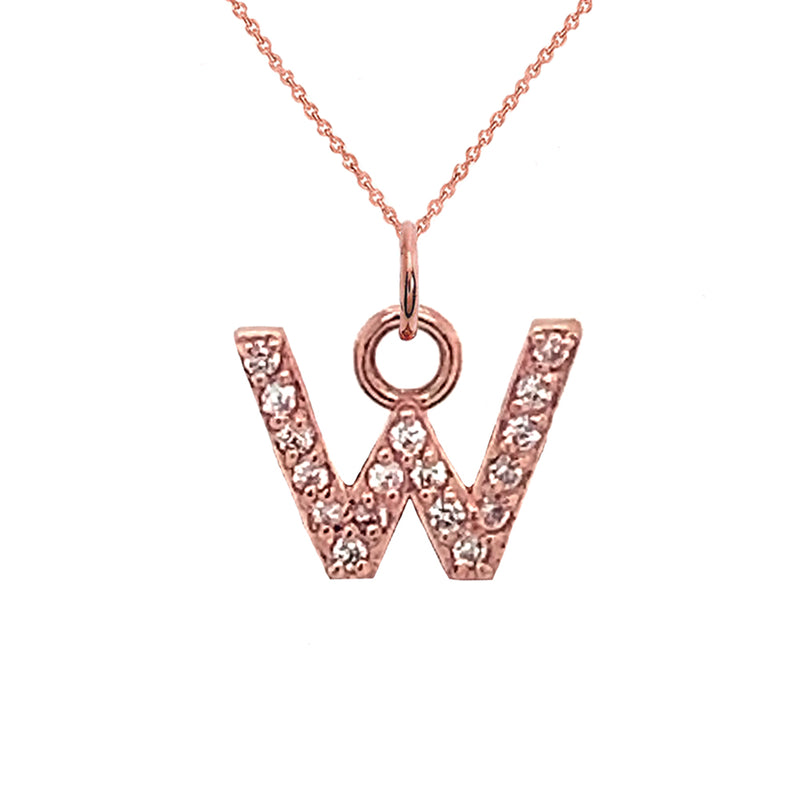 "Customizable Diamond Initial ""W"" Pendant Necklace in Solid Gold"