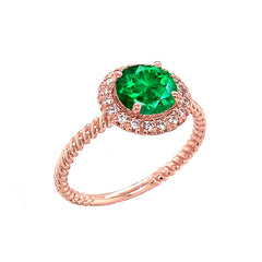 Round Cut Green CZ Engagement Band Ring with Diamonds In Rose Gold