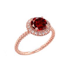 Round Cut Genuine Garnet Engagement Band Ring with Diamonds In Solid Rose Gold