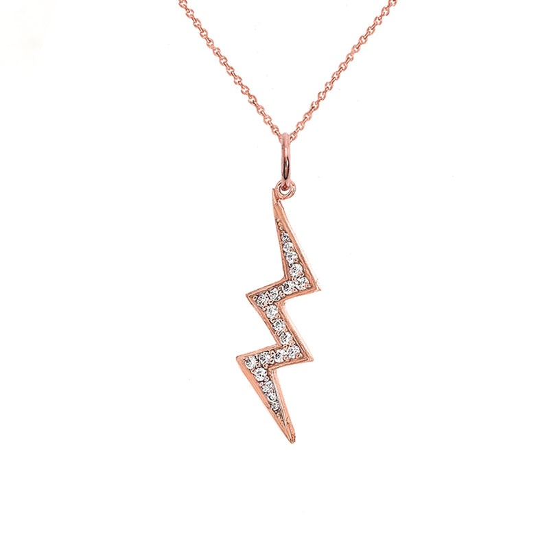 Lightning Bolt Diamond Pendant/Necklace In Solid Gold