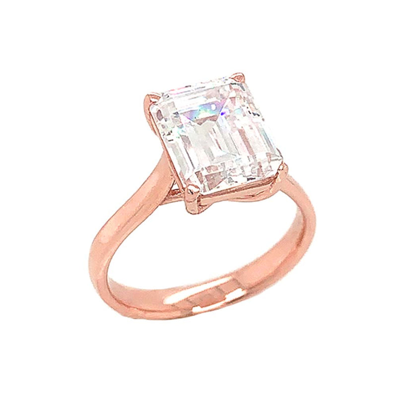Solitaire Emerald Cut Stone Ring In Gold