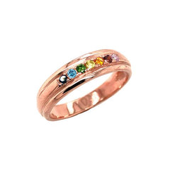 LGBTQ Rainbow Pride Wedding Band In Solid Rose Gold (Yellow/Rose/White)
