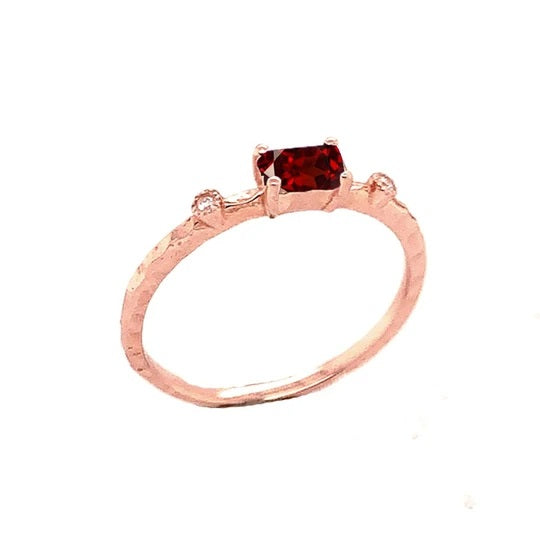 Dainty Genuine Garnet & Diamond Stackable Ring In Solid Rose Gold