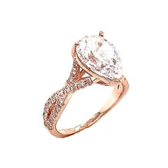 Pear shape Stone With Double Raw Diamond Ring In Rose Gold