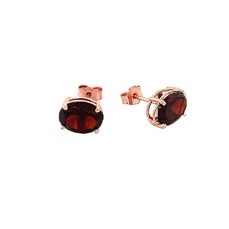 Genuine Oval Birthstone Stud Earrings in Solid Gold (Large Size)