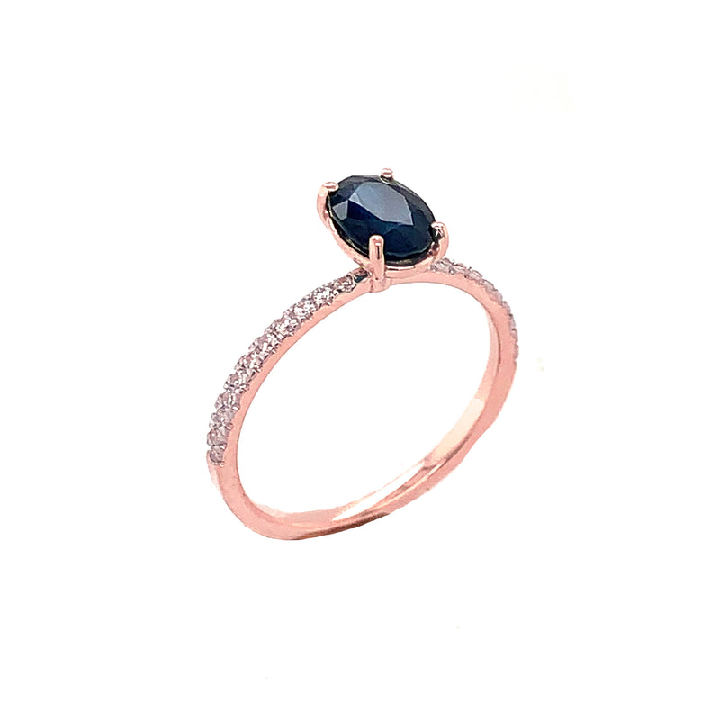 Solid Gold Dainty Oval Genuine Sapphire & Diamond Engagement Proposal Ring