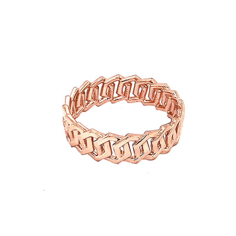 Dainty Honeycomb Link Band Ring in Solid Rose Gold
