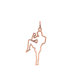 Personalized Karate Sports/Martial Arts Outline Pendant Necklace in Solid Gold