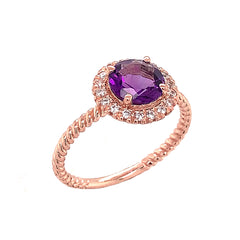 Round Cut Genuine Amethyst Engagement Band Ring with Diamonds In Solid Rose Gold