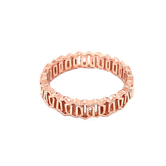 Honeycomb Link Statement Band Ring in Solid Rose Gold
