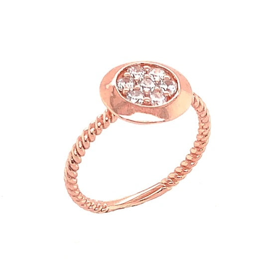 Round Milgrain Ring & Diamonds in Solid Rose Gold