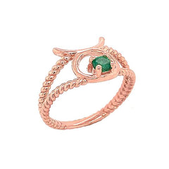 Taurus Zodiac & Emerald Gemstone Rope Ring in Solid Rose Gold