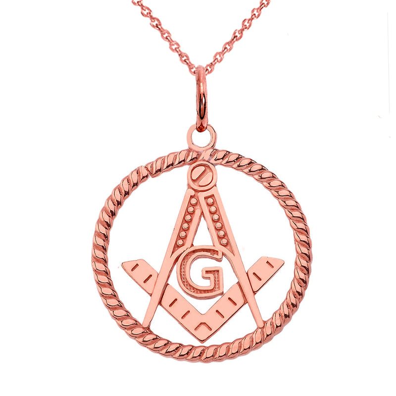Solid Gold Open Masonic Symbol in Round Pendant/Necklace