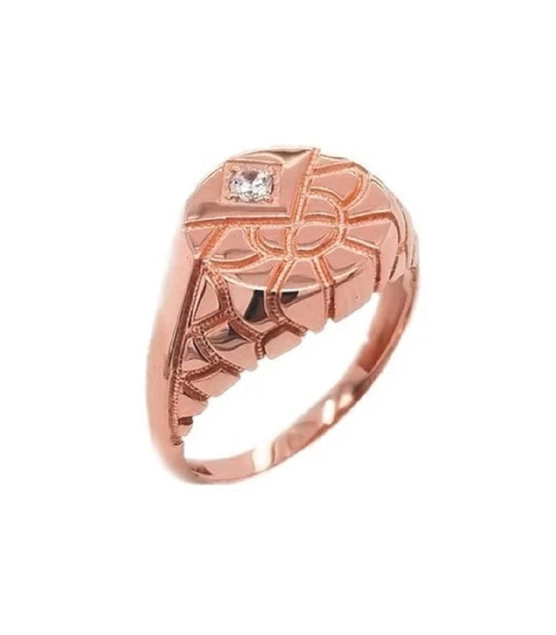 Diamond Nugget Round Signet Solid Rose Gold Ring