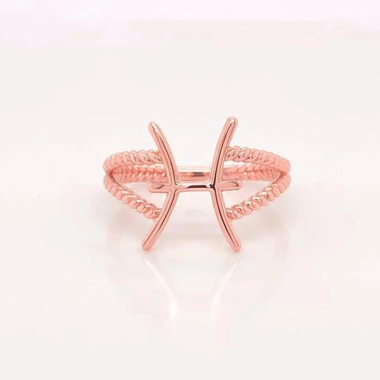 Pisces Zodiac Rope Ring in Solid Rose Gold