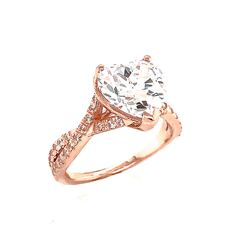 Solid Gold Heart Shape Stone With Double Raw Diamond Ring