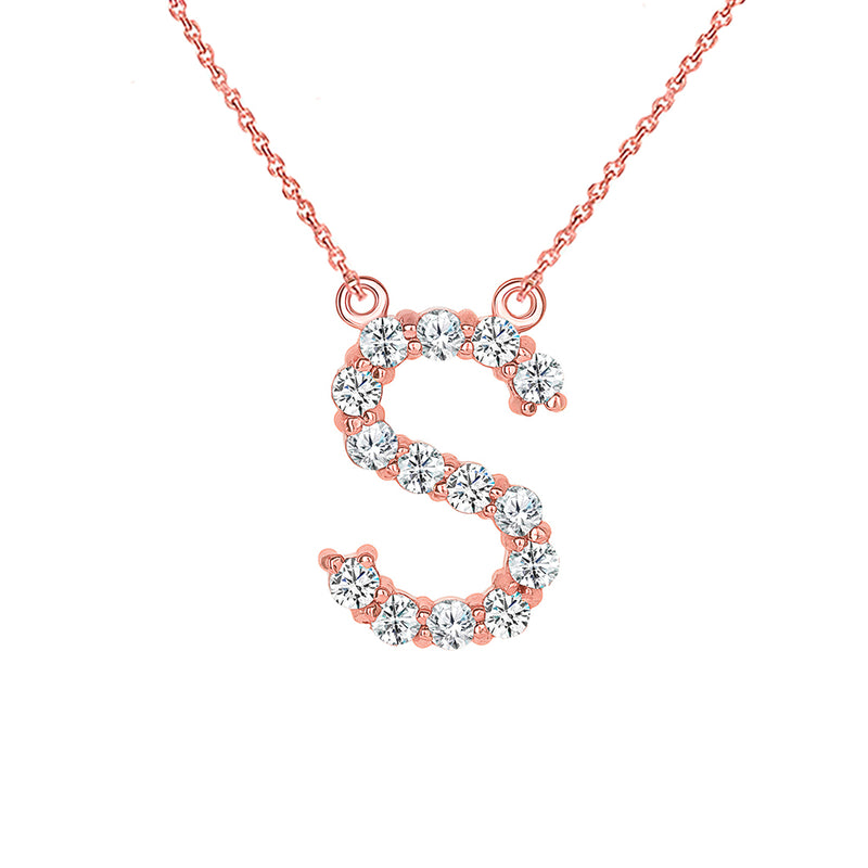 "Initial ""S"" Diamond Letter Necklace in Solid Gold"