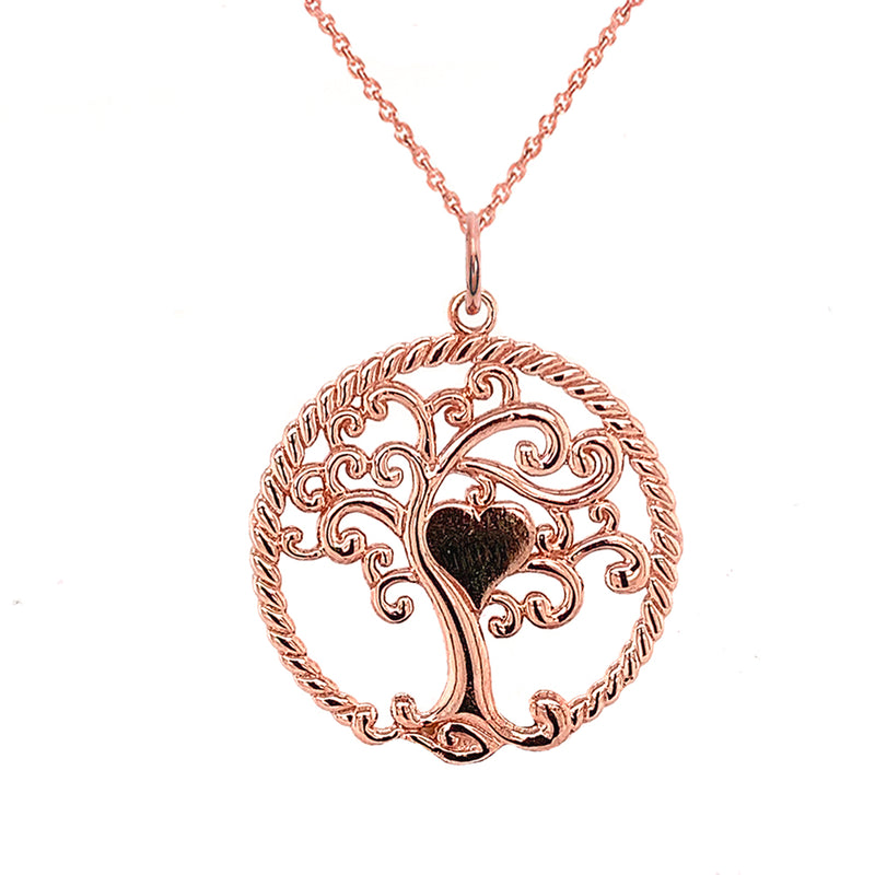 "Open ""Tree of Life"" Charm Pendant/Necklace in Solid Gold"
